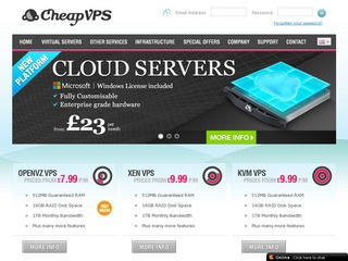 CheapVPS – 256MB SSD £20/Year OpenVZ or £25/Year KVM in Maidenhead, UK