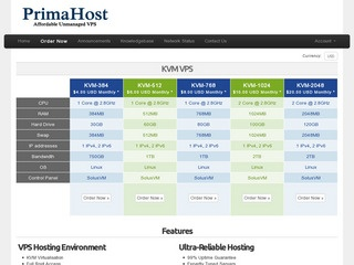 PrimaHost – $7 Monthly 512MB KVM in Falkenstein, Germany.